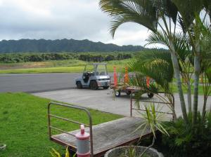 Hiva Oa airport. I was free to run right out onto the runway if I had wanted to.